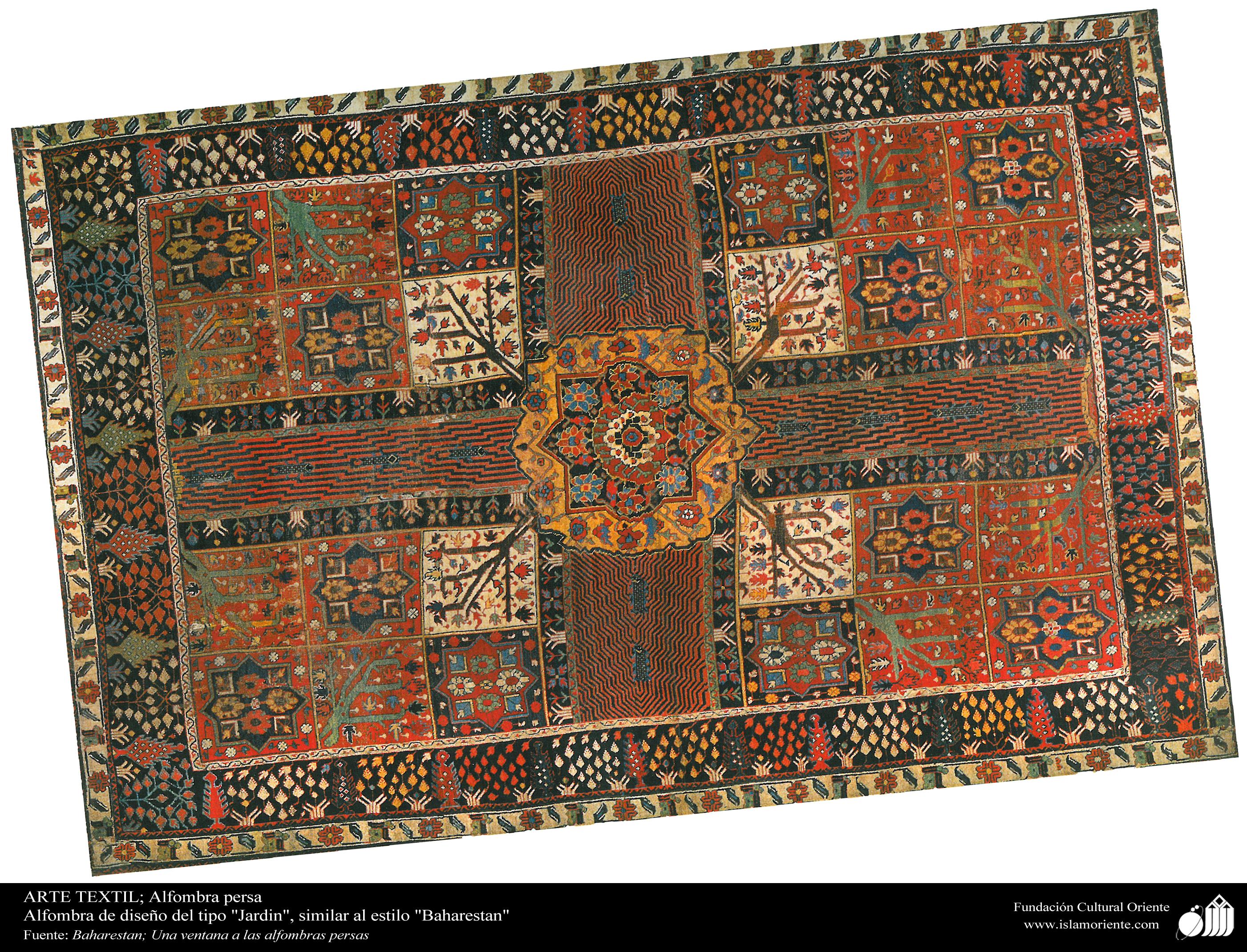 Alfombra persa alfombra de dise o del tipo jardin for Tipos de alfombras