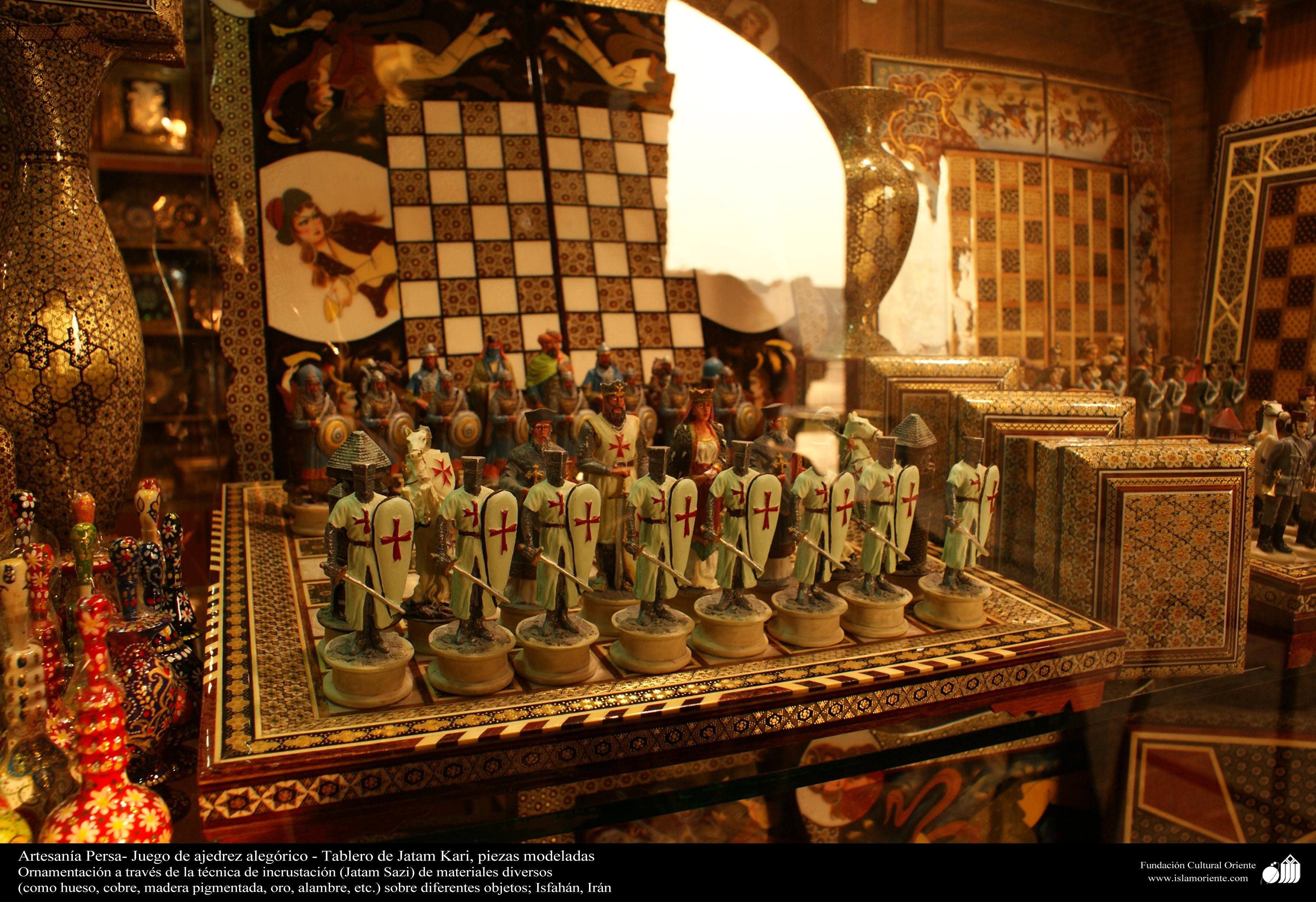 Persian Handicrafts Chess Game Board Of Jatam Kari Shaped Pieces