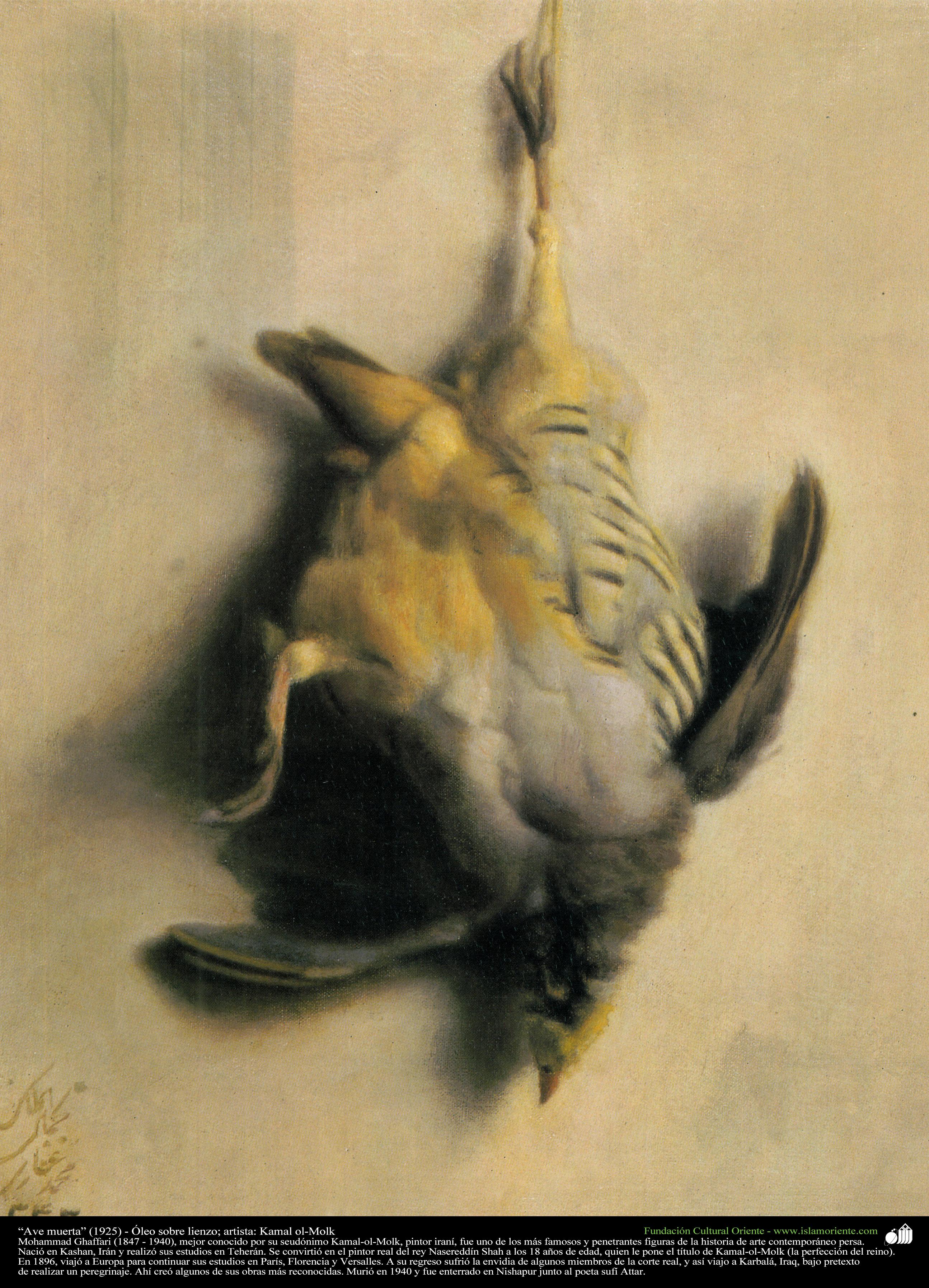 イスラム美術(キャンバス油絵、Kamalolmolk画家の「死んだ鳥」、1925 ...