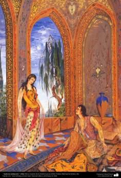 Arte islamica-Capolavoro di miniatura persiana-Maestro Mahmud Farshchian-Sogno di mezzanotte-1963