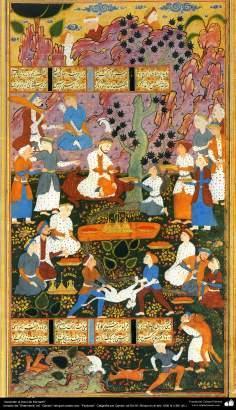"""""""Ascensão ao trono de Kiumarth"""", miniatura persa tirada do livro """"Shahname"""" ed. """"Qavam"""""""