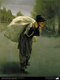 イスラム美術(キャンバス油絵、モレテザ・カトウゼイアン画家の「暮らしの負担」(1995年)