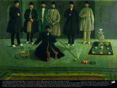 """The president Mohammad Ebrahim and his assistants"" (1876) - Oil on canvas - Artist :Kamal ol-Molk"