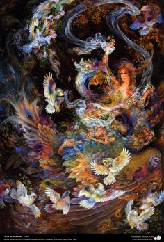 """""""Being in freedom"""", 2004 - Persian painting (Miniature) - by Prof. M. Farshchian."""