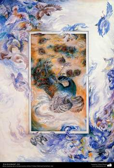Arte islamica-Capolavoro di miniatura persiana-Maestro Mahmud Farshchian-Essere in libertà-2004
