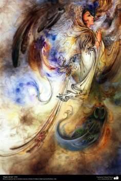 """Praise to Light"" 2004 - Persian painting (Miniature) - by Prof. M. Farshchian."