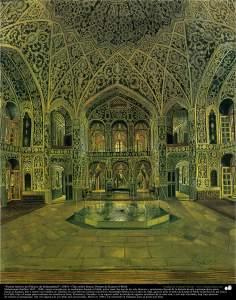 """""""Inside Source Saltanatabad Palace"""" (1883) - Oil on canvas - Works of Kamal ol-Molk"""