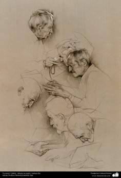 """Players"" (2004), and charcoal drawings on paper - Professor Morteza Katouzian"