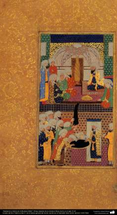 """""""Recounting the history of Al-Mutasim Billah"""" - Persian miniature made in the 16th century AD - """"us-Habib Siar II"""", of the general history of the world (1475-1535)"""