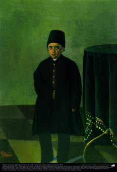 """Portrait of Mohammad Khan Jaye eunuch"" (1881) - Oil on canvas - Artist : Kamal ol-Molk"
