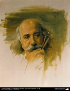 """Arte islamica-Pittura-Olio su tela-Opera di maestro Morteza Katusian-""""Ritratto di pittore iraniano maestro Ali Asgar Masumi""""-1992"""