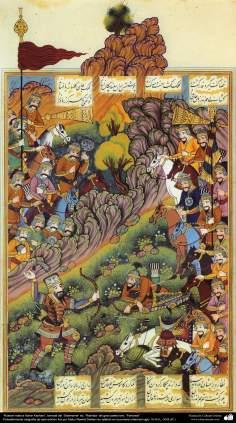 Arte islamica-Shahname di Ferdosi-Rashida-Rostam uccide Kahar Kashani