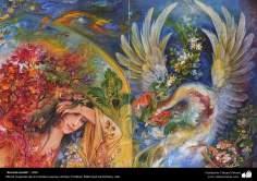 """""""Secreto oculto"""" (detalle), 1996, Obras maestras de la miniatura persa; M. Farshchian"""