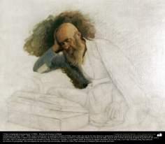 "Arte islamica-Pittura-Olio su tela-Opera di maestro Kamal ol-Molk,""Studio incessante""-1900"