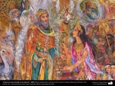 Arte islamica-Capolavoro di miniatura persiana-Maestro Mahmud Farshchian-Incontro di profeta Solomone e regina di Saba-2008