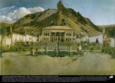 """""""Vista da construção Shahrestanak"""" (1900) - Óleo sobre tela; Pintura de Kamal ol-Molk"""