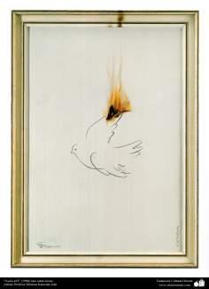 イスラム美術(キャンバス油絵、モレテザ・カトウゼイアン画家の「フライト」(1998年)