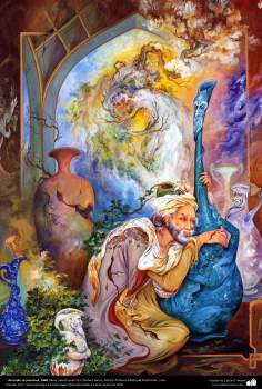 """ Recordar la juventud. 1988 Obras maestras de la miniatura persa; Artista Profesor Mahmud Farshchian, Irán"