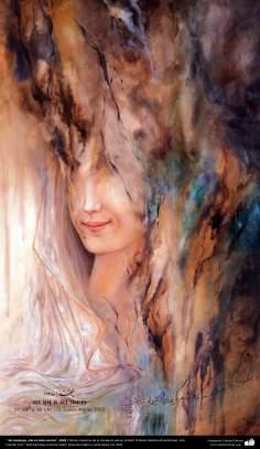 """"""" Sin embargo, ella es toda sonrisa"""", 2002  Obras maestras de la miniatura persa; Artista Profesor Mahmud Farshchian"""