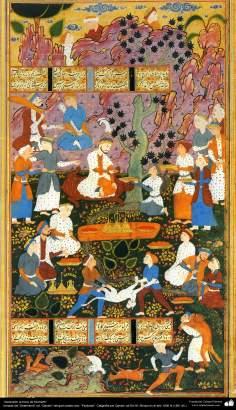 """اسلامی فن - ایران کے مشہور شاعر فردوسی کی کتاب """"شاہنامہ"""" سے ایک مینیاتور پینٹنگ """"کیومرث کی بادشاہی"""""""