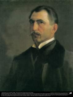 """""""Autoretrato en su juventud"""" (1900) - Óleo sobre lienzo; Pintura de Kamal ol-Molk (10)"""