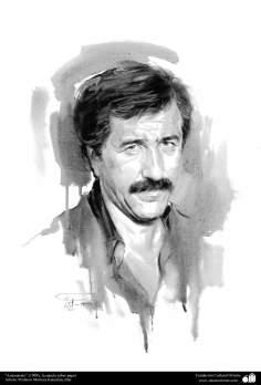 """هنراسلامی - نقاشی - رنگ روغن روی بوم - اثر استاد مرتضی کاتوزیان - """"من هستم"""" (1989)"""