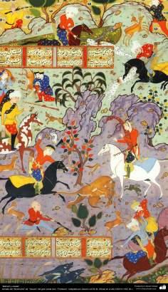"""Bahram et Azade"" - tirée ed ""Shahname"". ""Qavam"" le grand poète iranien, ""Ferdowsi"". Calligraphie Qavam en 1591 AD."