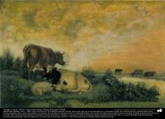 """Field and cows"" (1891) - Oil on canvas - By artist Kamal ol-Molk"