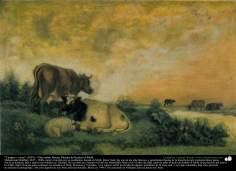 """""""Campo y vacas"""" (1891) - Óleo sobre lienzo; Pintura de Kamal ol-Molk"""
