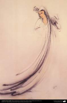 Arte islamica-Capolavoro di miniatura persiana-Maestro Mahmud Farshchian-Scompiglio interno-1997