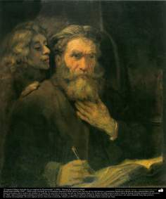 """The Apostle Matthew (study of an original Rembrandt)"" (1900) - By artist Kamal ol-Molk"
