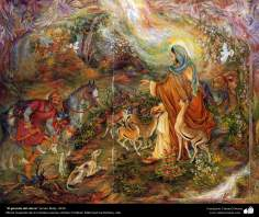 """El garante del ciervo"" (Imam Rida)- 2010, Obras maestras de la miniatura persa; por Profesor Mahmud Farshchian"