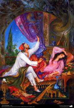 """In the morning"" 1989 - Masterpieces of Persian miniature - Artist: M. Farshchian"
