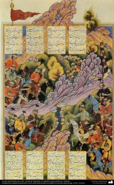 """""""Cena da batalha entre iraninos e turcos"""", miniatura tirada do poema """"Shahname"""" ed. """"Rashida"""" do grande poeta iraniano, """"Ferdowsi""""."""