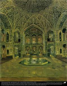 """Inside Source Saltanatabad Palace"" (1883) - Oil on canvas - Works of Kamal ol-Molk"