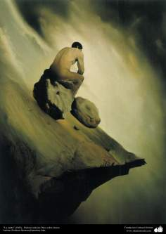 """La caída"" (1985) - Pintura realista; Óleo sobre lienzo, Artista: Profesor Morteza Katuzian, Irán"