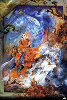"""""""La caravana de la vida"""", 1990 Obras maestras de la miniatura persa; Artista Profesor Mahmud Farshchian"""