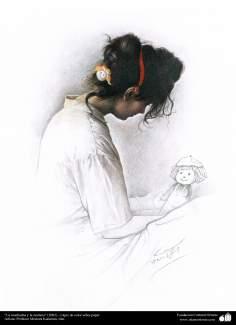 """""""La muchacha y la muñeca"""" (2002) - Lápiz de color sebre papel, Artista: Profesor Morteza Katuzian, Irán"""