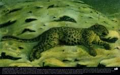 """Hunted Leopard"" (1885) - Persian painting - Artist: Kamal ol-Molk"