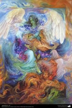 イスラム美術(マフムード・ファルシチアン画家によるミニチュア傑作 - 「開放」-1991