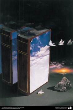 """Birds and books"" (1983), oil on canvas - Artist Professor Morteza Katuzian"