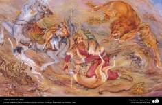 """Mano a mano"", 2002, Obras maestras de la miniatura persa; M. Farshchian"