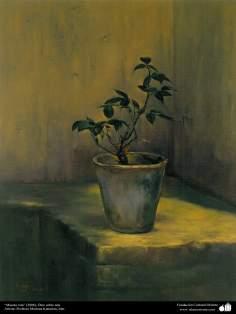 هنراسلامی - نقاشی - رنگ روغن روی بوم - اثر استاد مرتضی کاتوزیان - گلدان شکسته - (2006)