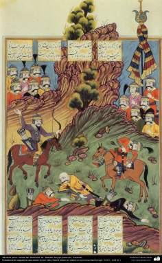 """اسلامی فن - ایران کے پرانے مشہور شاعر فردوسی کی کتاب """"شاہنامہ"""" سے ایک مینیاتور پینٹنگ (تصویرچہ) - ۸"""