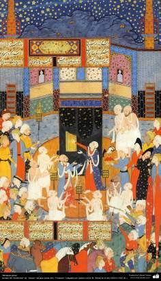 "«Miniature persane» - tiré du ed ""Shahname"". ""Qavam"" le grand poète iranien, ""Ferdowsi"". Calligraphie Qavam en 1591 CB-1"