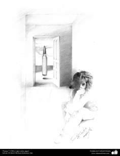 """Peinture """"Panic"""" (1982), crayon sur papier professeur Morteza Katouzian"""