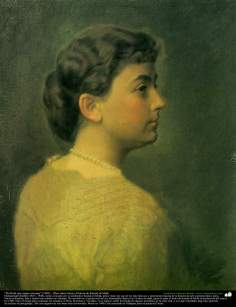 """Perfil de una mujer europea"" (1903) - Óleo sobre lienzo; Pintura de Kamal ol-Molk"