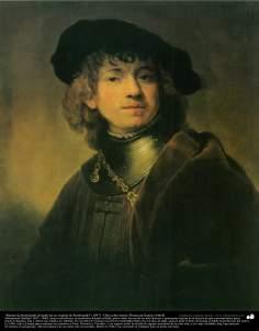"""""""Retrato de Rembrandt (Estudio de un original de Rembrandt)"""" (1897) - Óleo sobre lienzo; Pintura de Kamal ol-Molk (14)"""