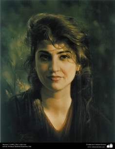 """Portrait"" (1999) - Realistic Painting; Oil on canvas, Artist Professor Morteza Katuzian"
