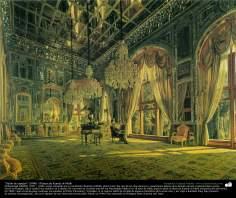 """""""Salón de espejos"""" (1896) - Pintura de Kamal ol-Molk"""
